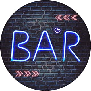 BAR - Illuminated Neon Bar Sign - Lighted LED Neon Marquee Word Sign - Pre-Lit Pub Bar Sign Light Battery Operated (BAR - Blue)
