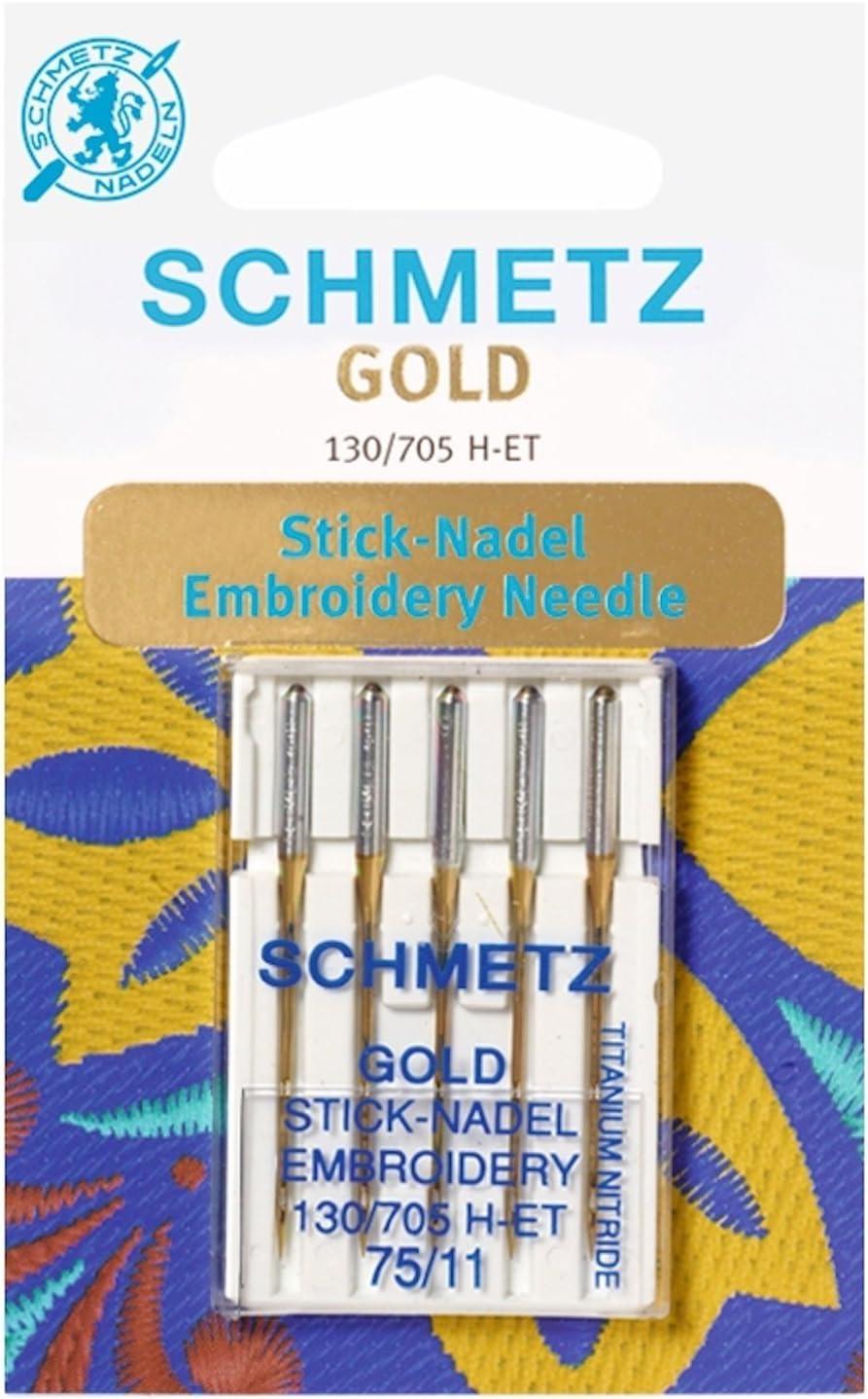 Schmetz - Agujas para máquina de coser + enhebrador de agujas, Single Packet, Gold Embroidery 75/11 + Threader