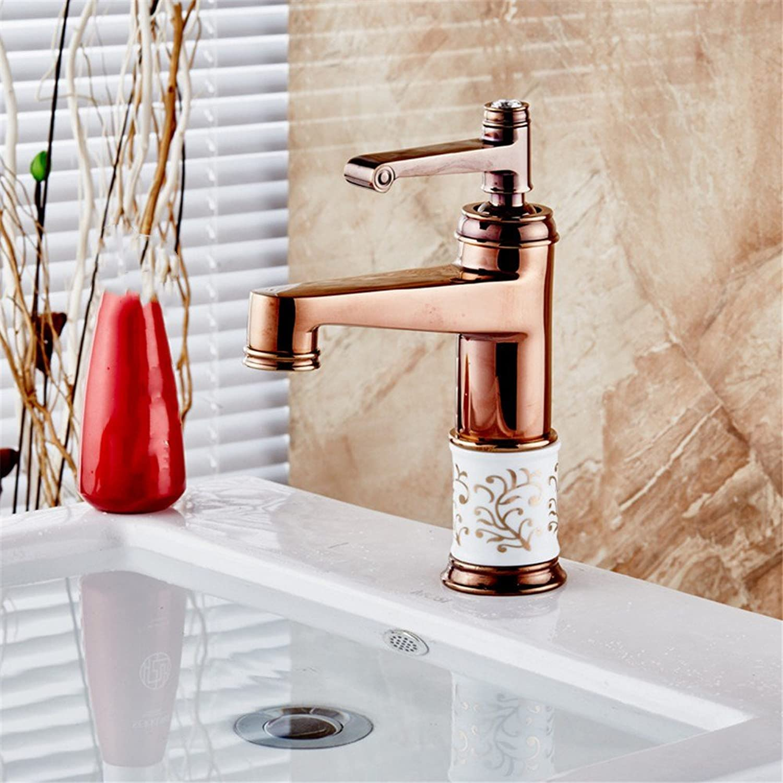 AOEIY Wasserhahn Küchen Mischbatterie Kupfer roséGold lackiert Waschtischarmaturen Mixer Spültisch Armatur Bad Spülbecken Spültischbatterie badezimmer Küchenarmatur Edelstahl