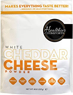 Healthier Comforts Premium Organic White Cheddar Cheese Powder, Kosher, Non-GMO, Dye and Chemical Free, Gluten Free, Keto ...