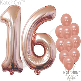 KatchOn Rose Gold Number 16 Balloons - Large, Pack of 12 | Sweet 16 Party Supplies | 16th Birthday Balloon Numbers Decorations Pack | foil Mylar and Latex Balloon Rose Gold Decorations Supplies