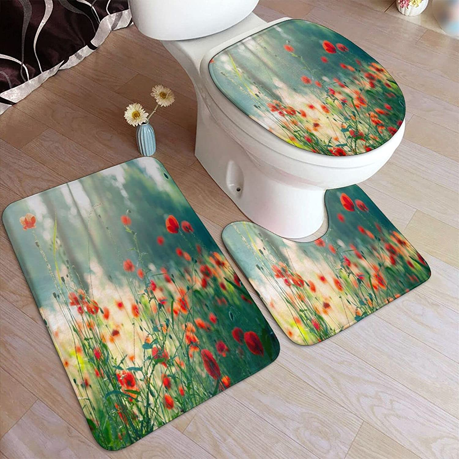 NISENCOLK Bath Our shop OFFers the best service NEW before selling ☆ Rug Set 3 Piece for Poppy Flowe Bathroom Wild Red