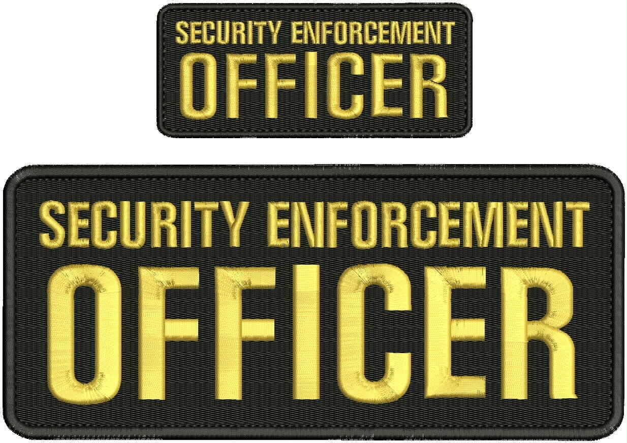 Security Enforcement At the price of surprise Officer Embroidery 4x10 Patch Gold Super special price Hook