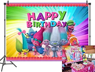 Trolls Poppy Animation Movies Background Birthday Theme Party Photography Backdrops Baby Shower Cake Table Colorful Decor Photo Banner Booth Studio Props 7x5 Vinyl