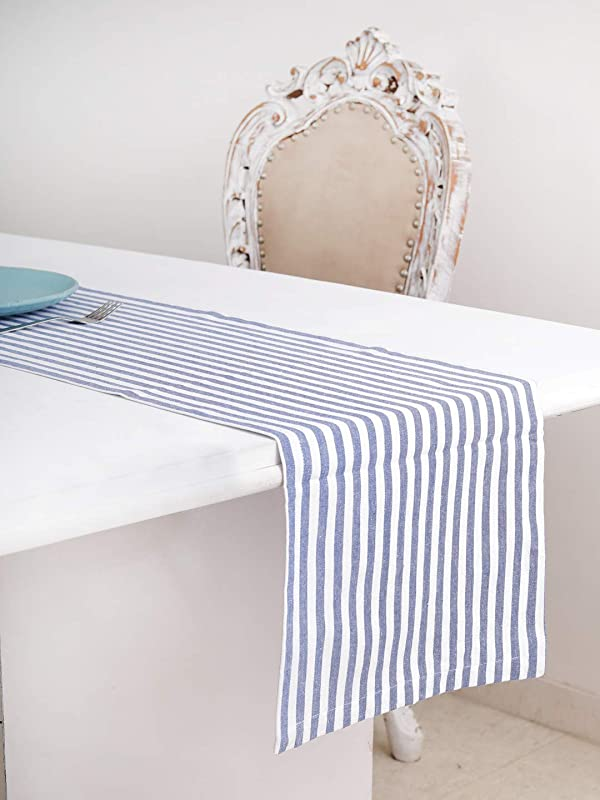 Cotton Table Runner 13 X 108 Inches Blue White Stripe 1 Hemmed With Mitered Corner Perfect For All Seasons And Holidays