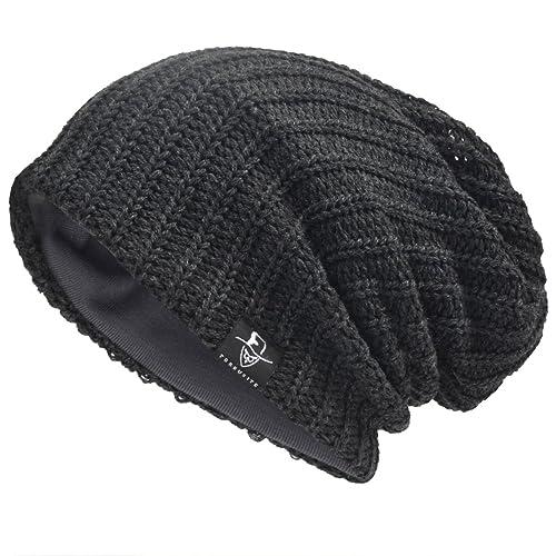 fa1a186dafc415 JESSE · RENA Men Beanie Hat Knit Slouchy Baggy Skull Cap CFB306
