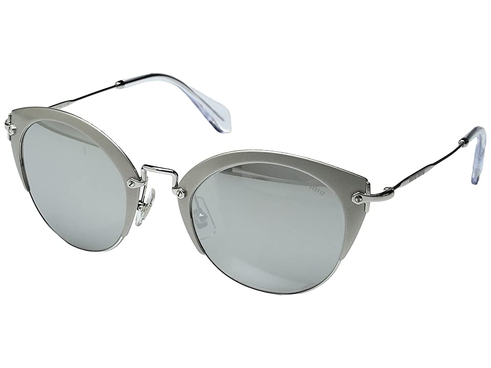 Miu Miu 0MU 53RS (Sand Silver/Light Grey Silver Mirror) Fashion Sunglasses