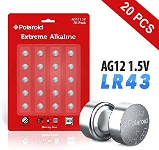 Polaroid Extreme AG12 LR43 386 301 L1142 186 1.5V Button Cell Alkaline Batteries Mercury Free 0% Hg (20-Pack) - 2025 Expiry Date