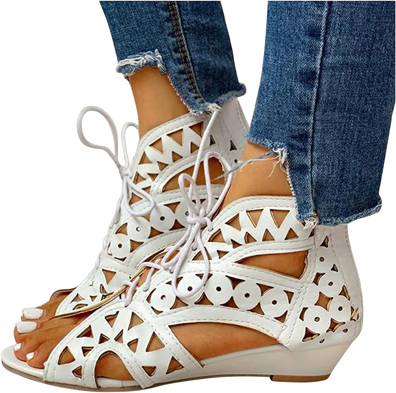 JIEXIJIA Sandals for Max 51% OFF Women - Casual Summer Hollow store We Out Crystal
