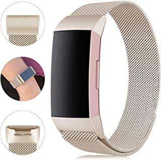Find-MyWay Replacement Compatible with Fitbit Charge 3 Bands/Charge 3 SE Metal Bands Wristband Accessory Breathable Sport Bracelet Strap Small & Large for Women Men Silver Rose Gold 10 Colors