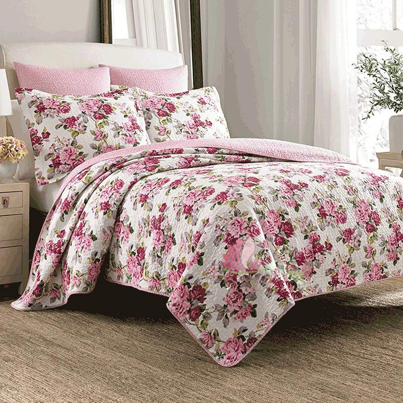 Tagesdecken-Sets, Sommer Cool Quilt aus Reiner Baumwolle gedruckt Steppdecke Bettdecke 3-teilig, mit Kissen-Set (Farbe   Rot, gre   Queen)