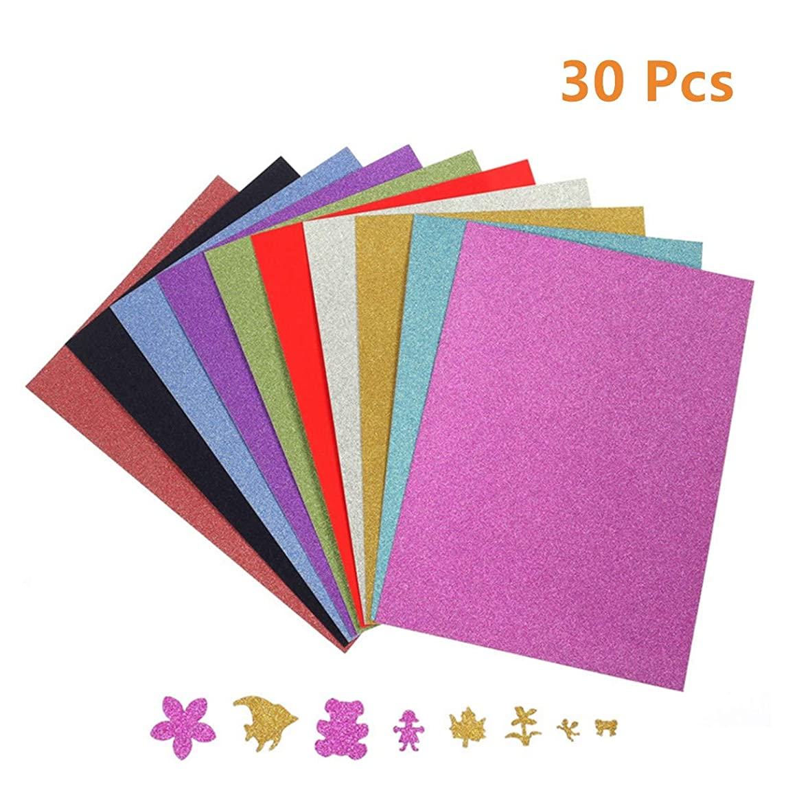 A4 Adhesive Glitter Paper, 30 Sheets Glitter Self-Adhesive Sticker Sticky Back Paper Craft Art Sparkling Sign Gemstone Metallic Color for Children's Craft Cutters Art