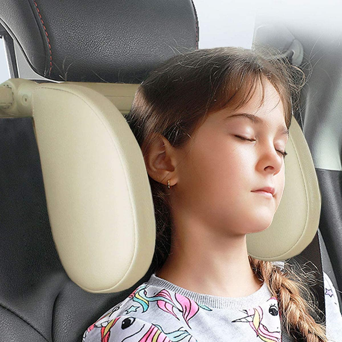 TEEPIRE Car Seat Headrest Pillow, Headrest for car, Head Neck Support Detachable,Premium seat held Pillow, 360 Degree Adjustable Both Sides Travel Sleeping Cushion for Kids Adults