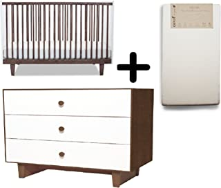 Oeuf Rhea Crib, Walnut/White + Oeuf Merlin Rhea Dresser - Walnut/White + Oeuf Pure and Simple Natural Dual Firm Crib Mattress, Natural Complete Set