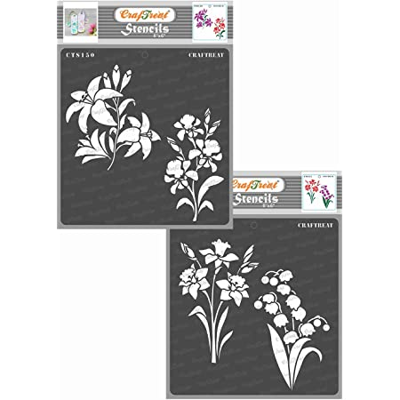 thecraftshop Craftreat Stencil Lily, Iris, Daffodil and Bell Flower Reusable Painting Template for Art and Craft, Mixed Media, Home Decor, DIY Albums (6X6-inch) -2 Pieces