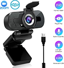 1080P Webcam with Microphone, Computer Webcam for PC Laptop Desktop, USB Webcam Live Streaming Video Camera with Privacy Cover, Windows Mac Android Chrome Linux Compatible