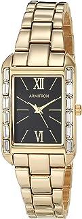ساعة ارمترون للنساء بسوار ذهبي مرصعة بالكريستال الطبيعي 75/5764BKGP