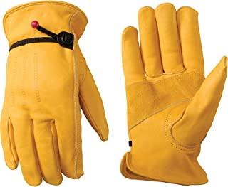 Men's Leather Work Gloves with Adjustable Wrist, Large (Wells Lamont 1132L),Saddle tan