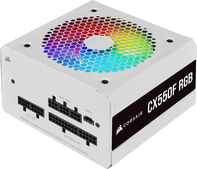 Corsair CX550F RGB Fuente de Alimentación ATX Totalmente Modular 80 PLUS Bronze,Certificación de Eficiencia 80 PLUS Bronze, Ventilador RGB de 120 mm, Funcionamiento Prácticamente Sin Ruido, Blanco