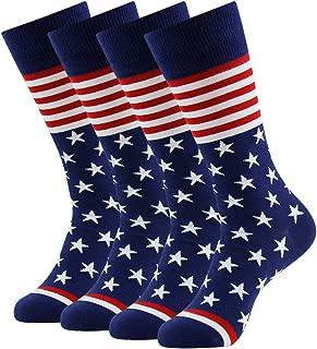 Men's American Flag Socks Patriotic Crew Gift Dress Sock 1/2/3/4/6 Pairs