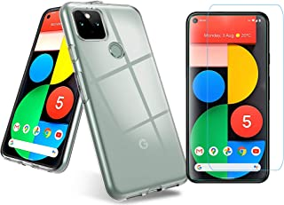 Easelifes Case for Google Piexel 5 Cover with Google Piexel 5 Tempered Glass Screen Protectors, Soft TPU Bumper Silicone C...