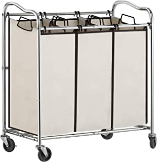 Liheya 3 Bag Hamper Cart, Laundry Hamper Sorter with Heavy Duty Rolling Wheels, Mobile Laundry Hamper Cart for Clothes Storage with Rolling Lockable Casters, Chrome