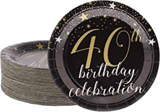 Disposable Plates - 80-Count Paper Plates, 40th Birthday Party Supplies for Appetizer, Lunch, Dinner, and Dessert, 9 x 9 Inches