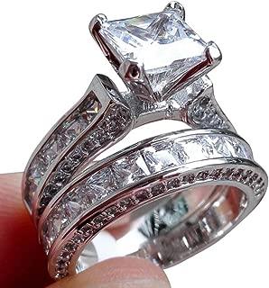 Women Band Ring,Vanvler [ Engagement Wedding Ring Set ] 2-in-1 Diamond Ring Silver