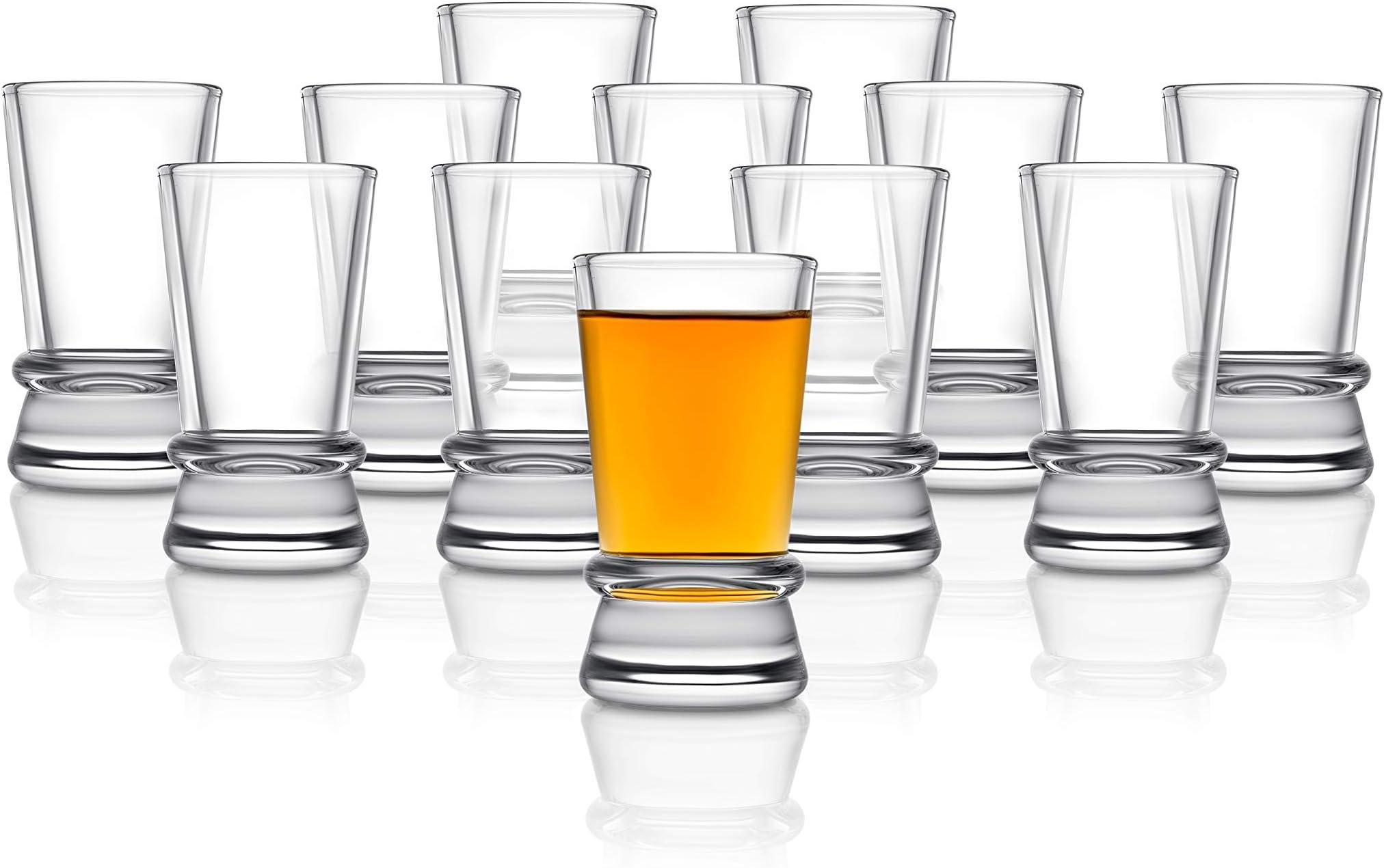 JoyJolt Afina Heavy Base Shot Glasses (Pack of 12) - 1.5-Ounces