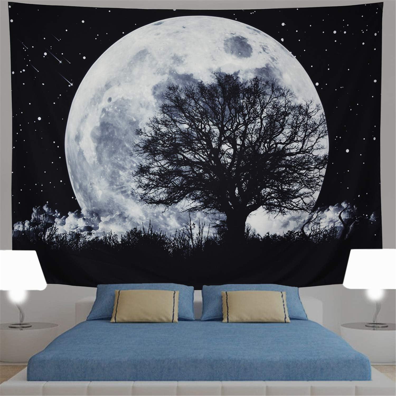 Generleo Moon Tapestry Fresno Mall Galaxy Stars Tree Wall Ta Max 41% OFF Forest
