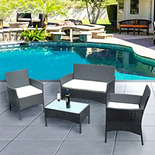 Panana Outdoor Patio Furniture 4 Pieces Rattan Patio Set...