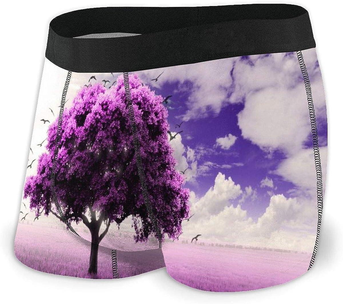 Randolph Wordsworth Mens Underwear Marvellous Lonely Tree Purple Lavender Boys Boxer Briefs Trunks Low Rise Underpants Man