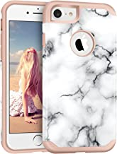 iPhone 7 Case, Imikoko™ Hybrid Protective Soft Silicone with Hard White Marble Case Shock Absorbing Slim Thin Cute Case Cover Plastic Shell for iPhone 7 (White Marble/Rose Gold)