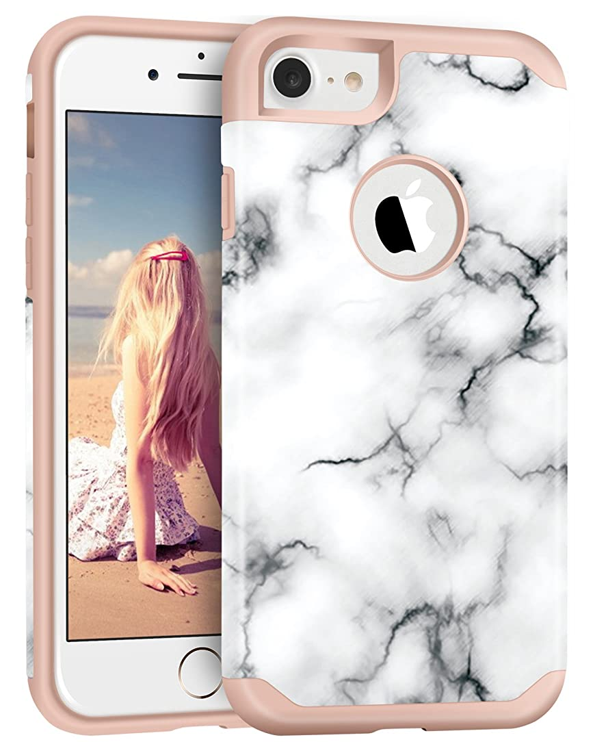 iPhone 7 Case, Imikoko? Hybrid Protective Soft Silicone with Hard White Marble Case Shock Absorbing Slim Thin Cute Case Cover Plastic Shell for iPhone 7 (White Marble/Rose Gold)