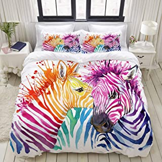 Mokale Bedding Duvet Cover 3 Piece Set - Funny Rainbow Zebra with Splash Watercolor Design - Decorative Hotel Dorm Comforter Cover with 2 Pollow Shams - Queen 90