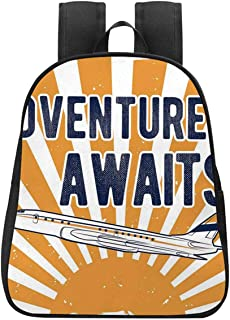 Adventure Individual Backpack,Commercial Airplane with Rising Sun Adventure Quote Aviation Journey Print Decorative for School,One_Size