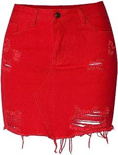 Meet Nice Women's High Waisted Pearl Beaded Diamonds Studded Denim Bodycon Short Skirt