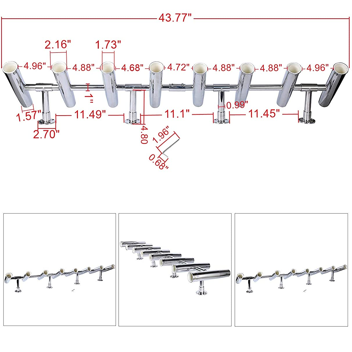 Amarine-made 8 Tube Adjustable Stainless Rocket Launcher Rod Holders, Can Be Rotated 360 Deg