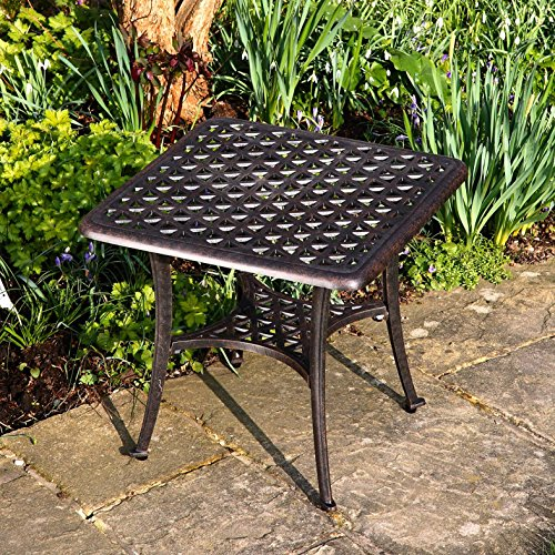 Lazy Susan – JULY Gartenbank und SANDRA Quadratischer Kaffeetisch – Gartenmöbel Set aus Metall, Antik Bronze (Beiges Kissen) - 5