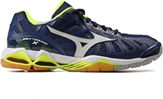 MIZUNO V1GA161273 Wave Tornado X Men's Volleyball Shoes, Orange Clown Fish/White/Blue Depth