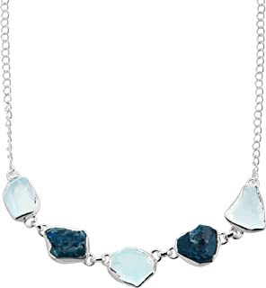 Ice To Meet You' Rough-Cut Natural Blue Topaz& Apatite Necklace in Sterling Silver