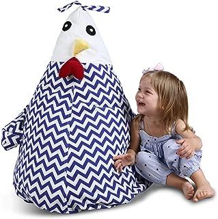 "UNIWA Stuffed Animal Bean Bag - 100% Cotton Canvas Cute Chick Storage Bean Bag Chair Cover Stuffie Seat Kids Plush Toys Towel Blanket Pillow Linens Organizer Zipper Bags 35"""