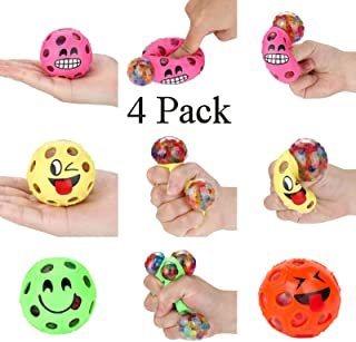 4 Pack Happy Funny Face Anti Stress Relief (6 cm) Jelly Water Beads Rainbow Squishy Grape Ball Autism Mood Squeeze Kid Toy Gift