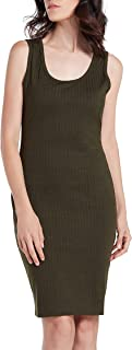 Women's Sleeveless Ribbed Knitted Midi Dress with Round Neck