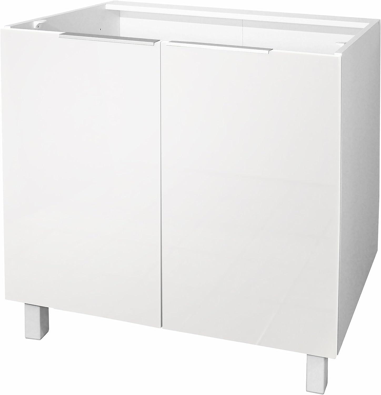 Berlenus CP8BB - Base Cocina gabinete con 2 Puertas, 80 x 52 x 83 cm, de Color: Blanco Brillante