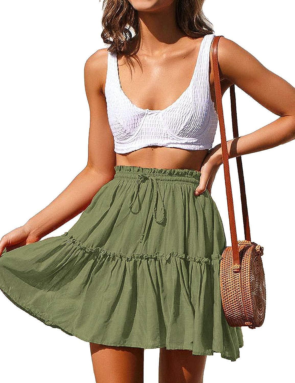 LadyM Women's High Waist Skirt Drawstring Ruffle Flared A-line Skater Mini Skirt S-XXL