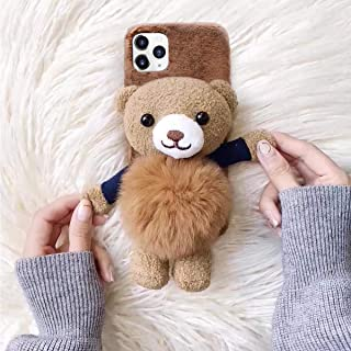 Losin Bear Case Compatible with Apple iPhone 11 6.1 inch Case Fashion Luxury Lovely Cute Fuzzy Furry Winter Rabbit Hair Warm Plushball 3D Bear Toy Doll Hard PC Back case