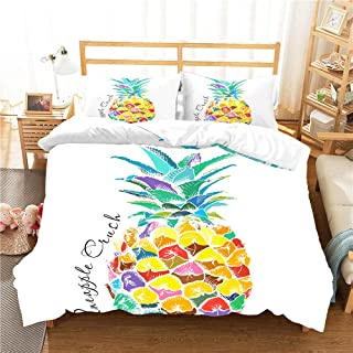 kxry Colorful Pineapple Bedding Set Fruits Printed Duvet Cover Sets for Girls Boys Teens 1 Duvet Cover + 2 Pillow Shams Full Size White