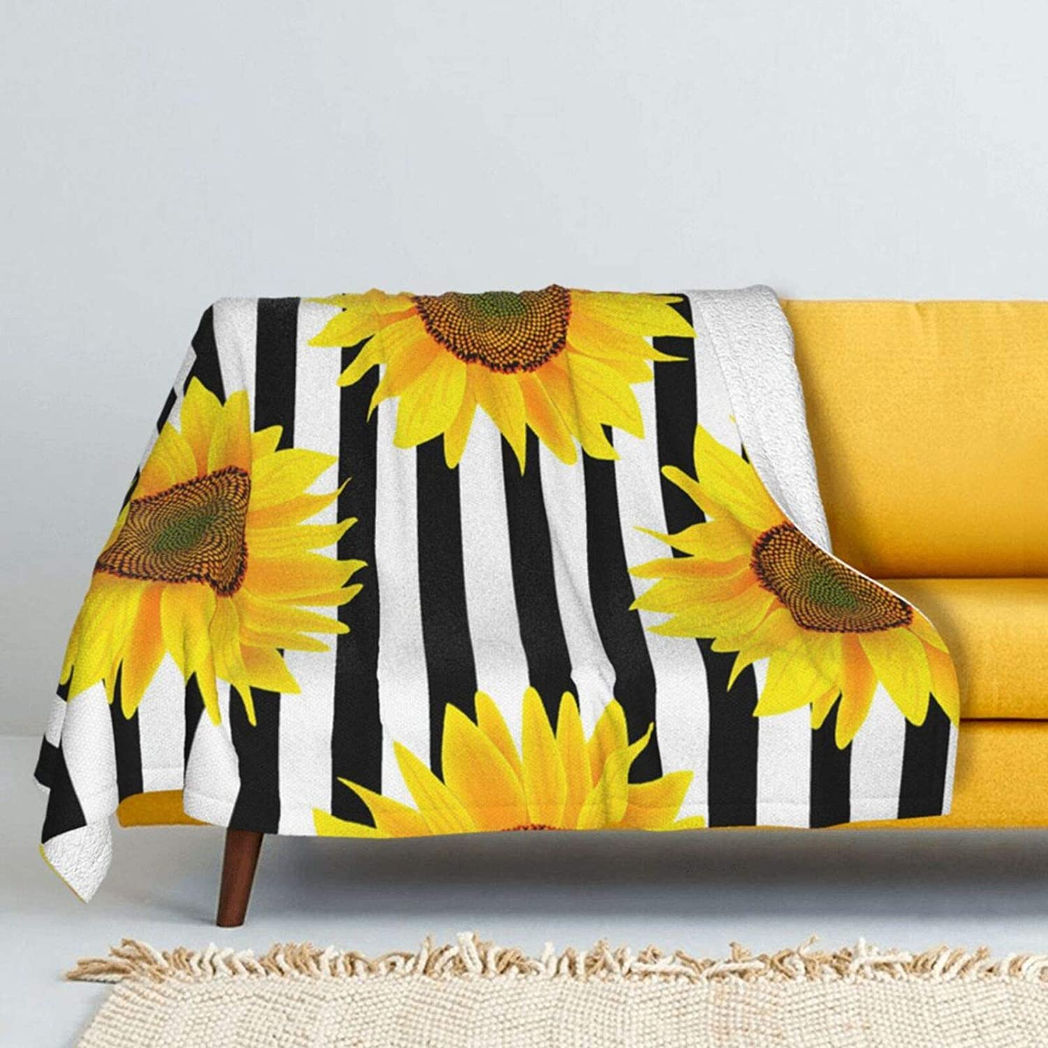 Summer Sunflowers on Striped Lamb Outstanding Soft Nippon regular agency Throw Blanket Wool Super