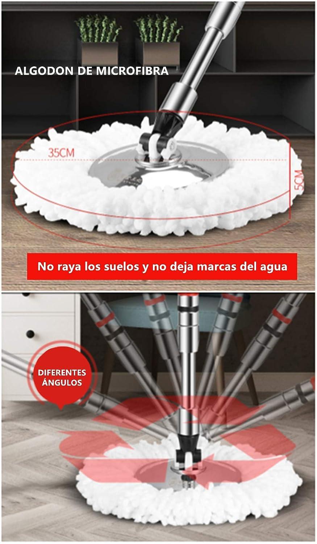 la casa l/'ufficio il pavimento manico girevole a 360/° Mocio e secchio con ruote in acciaio inox set di mocio e il secchio Haioo include 3 testine di ricambio per la pulizia domestica